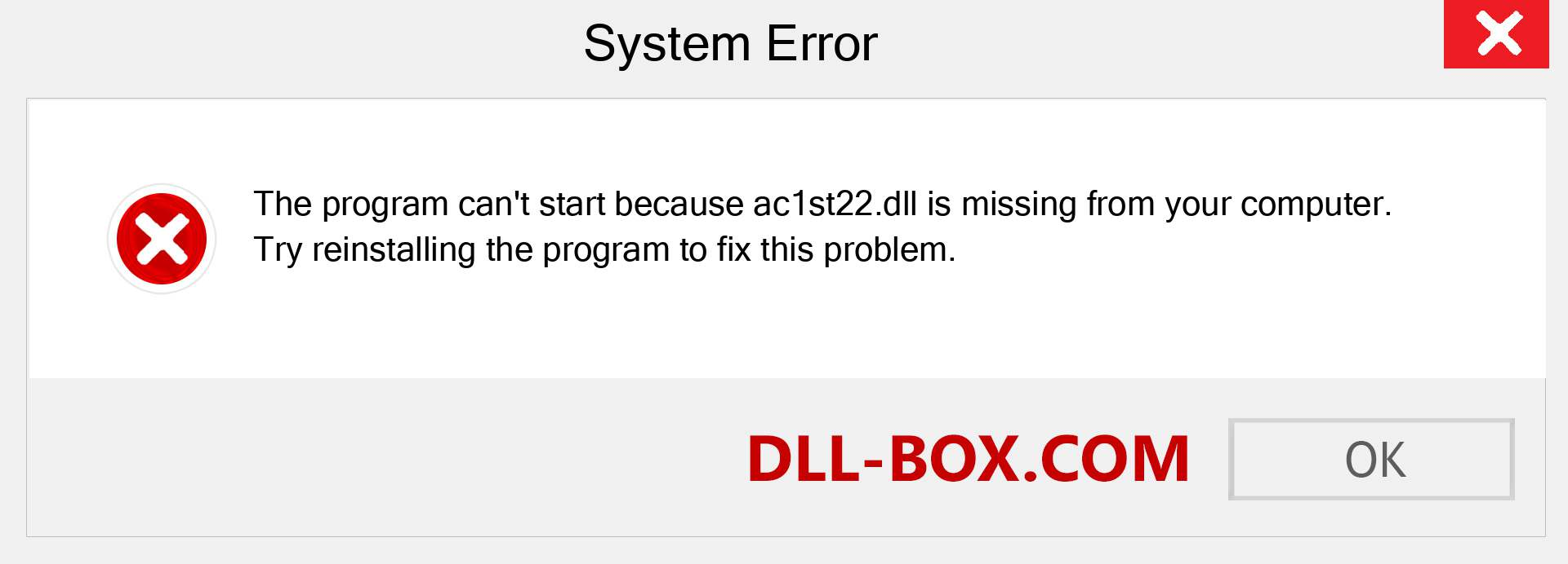 ac1st22.dll file is missing?. Download for Windows 7, 8, 10 - Fix  ac1st22 dll Missing Error on Windows, photos, images